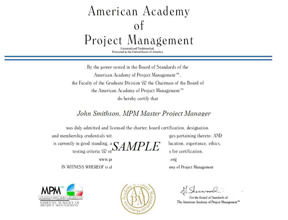 Certified project manager accredited institute project management association institute international training certifications credentials project managers human resources project risk cipm sample certification yelopaper Choice Image